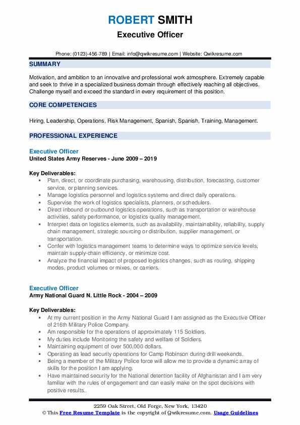 Executive Officer Resume example