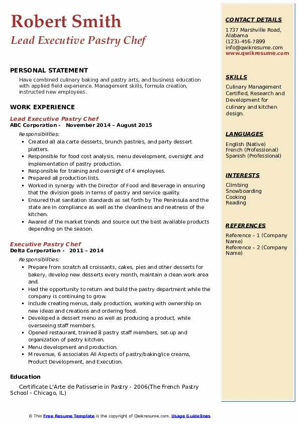 executive pastry chef resume samples  qwikresume