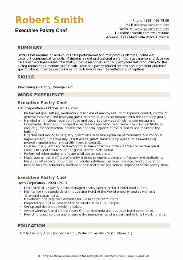 Executive Pastry Chef Resume example