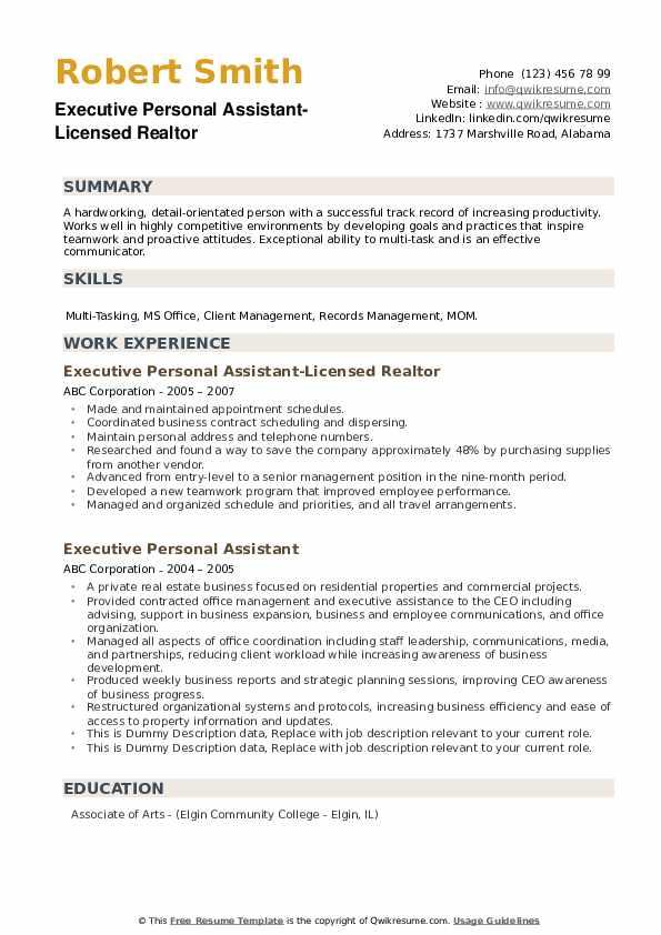 cover letter for estate manager position