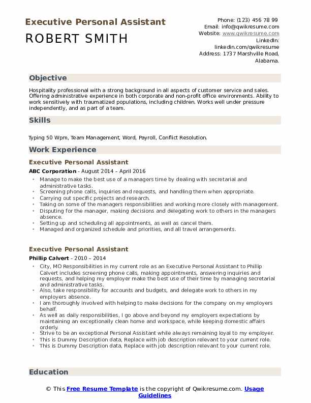 Executive Personal Assistant Resume example