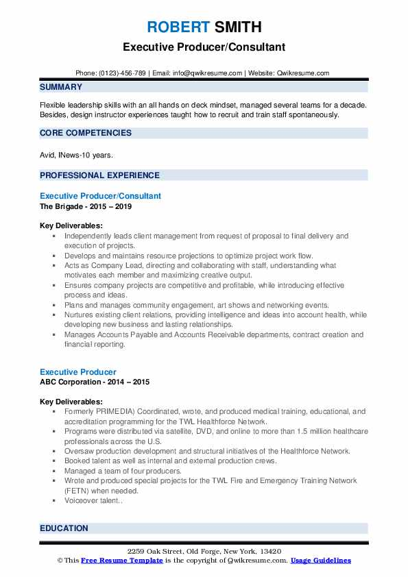Executive Producer/Consultant Resume Template