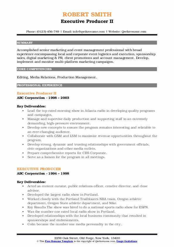 Executive Producer II Resume Format