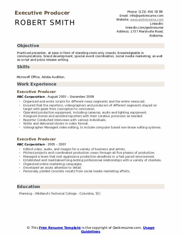 Executive Producer Resume example