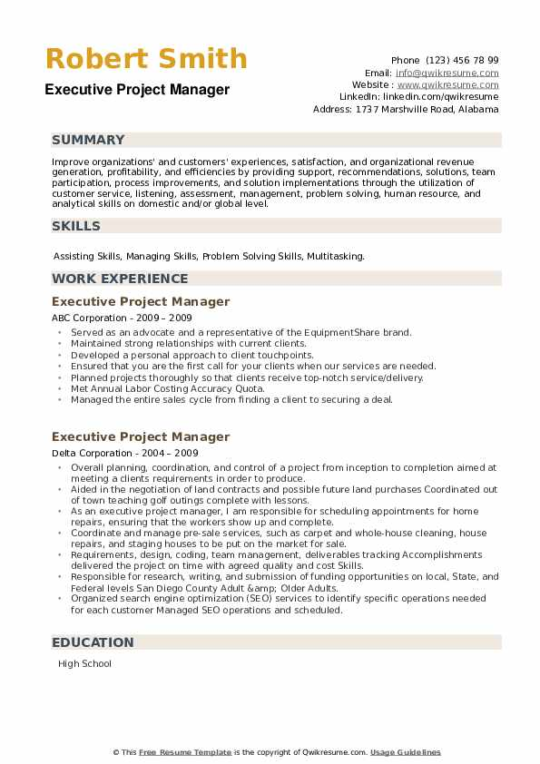 Executive Project Manager Resume example