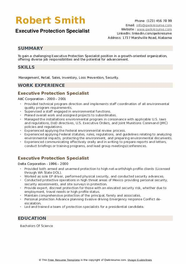 Executive Protection Specialist Resume example