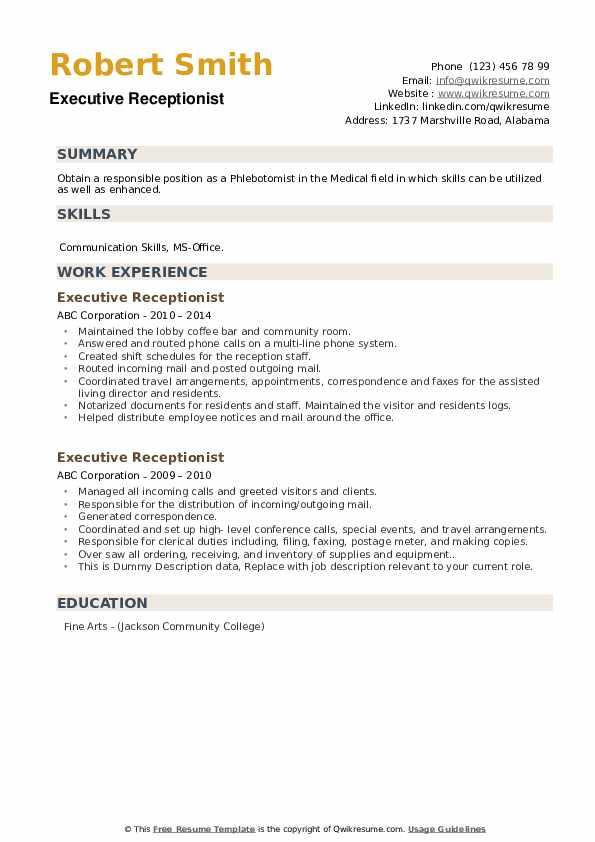 executive receptionist resume samples  qwikresume