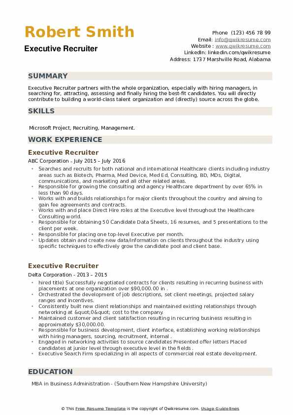 Executive Recruiter Resume example