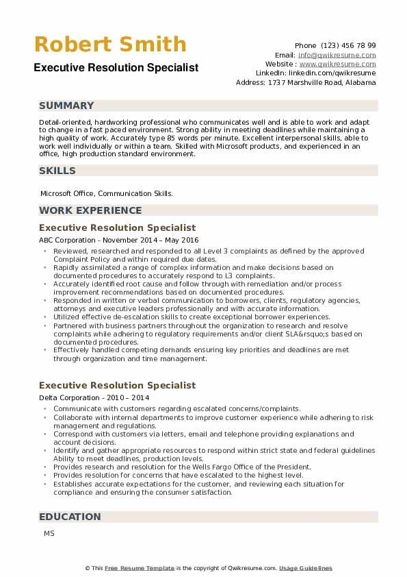Executive Resolution Specialist Resume example