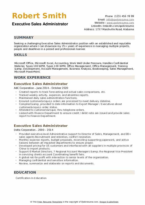 Executive Sales Administrator Resume example