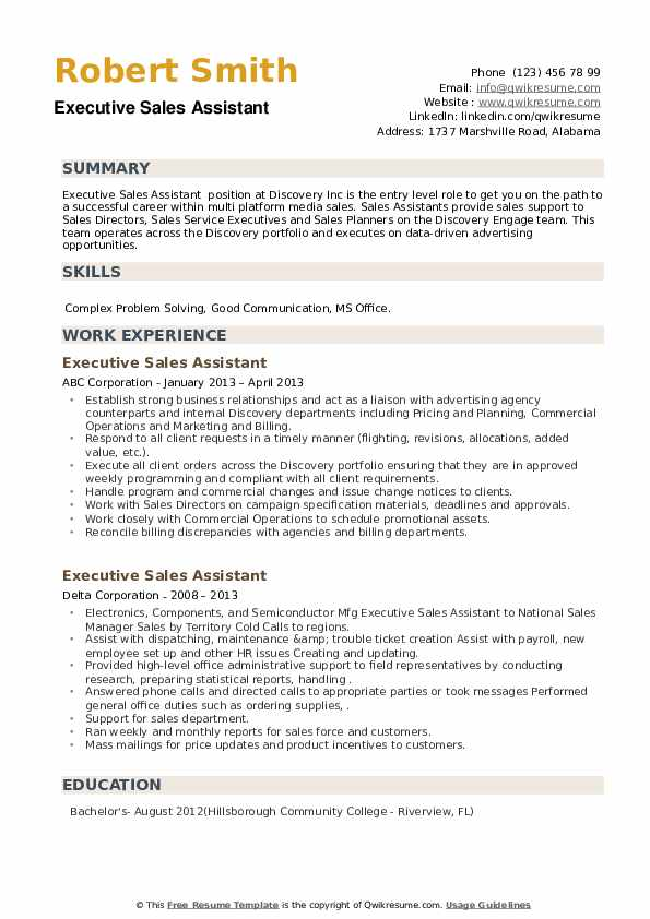 Executive Sales Assistant Resume example