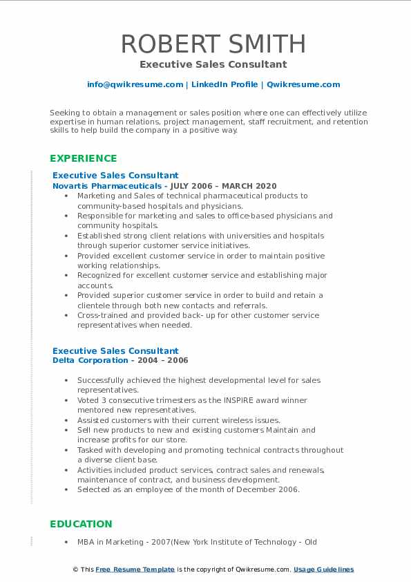 executive sales consultant resume samples  qwikresume