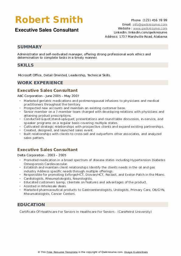 Executive Sales Consultant Resume example