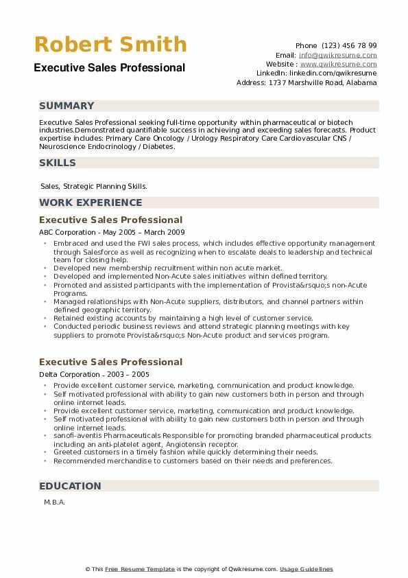 Executive Sales Professional Resume example