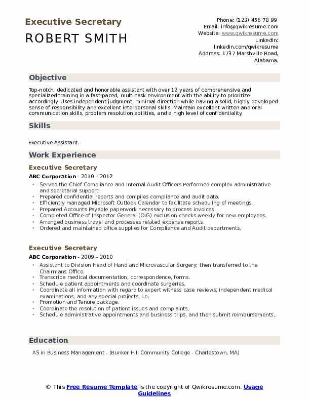 Executive Secretary Resume Example