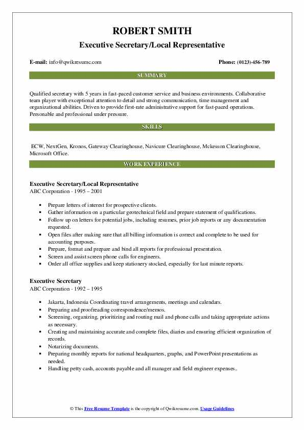 Executive Secretary/Local Representative Resume Sample