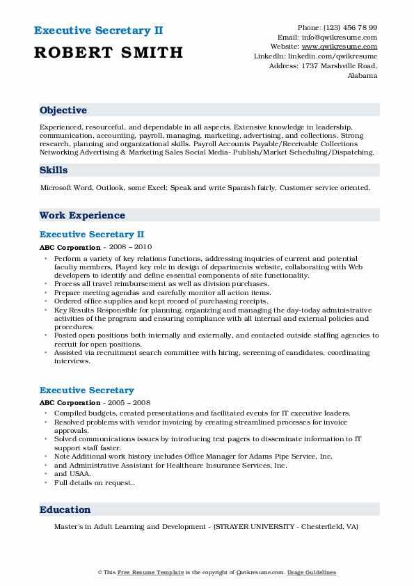 Executive Secretary II Resume Example