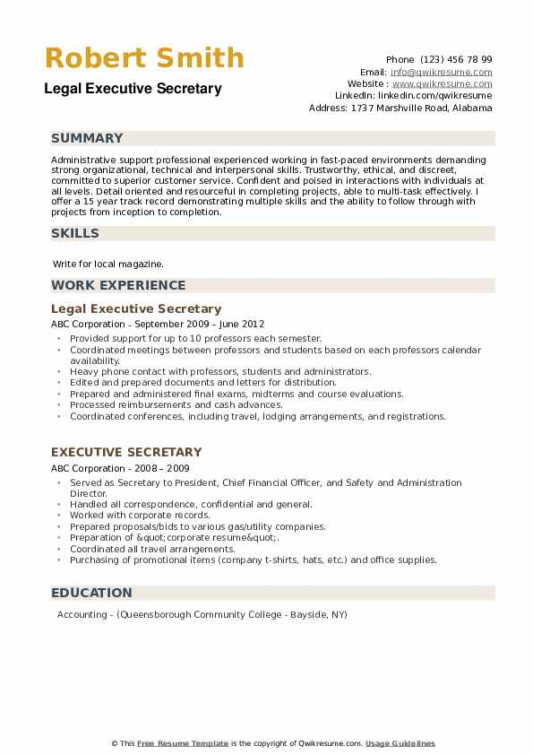 Legal Executive Secretary Resume Model