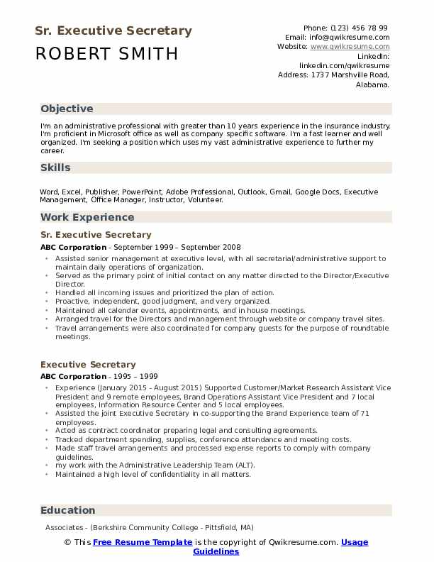 Sr. Executive Secretary  Resume Format