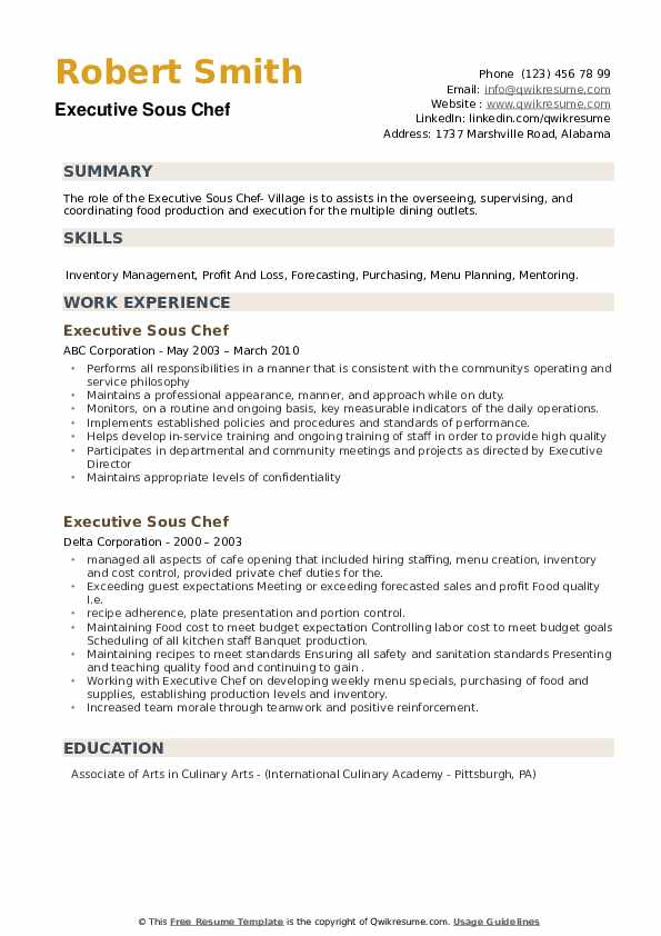 Executive Sous Chef Resume Samples Qwikresume