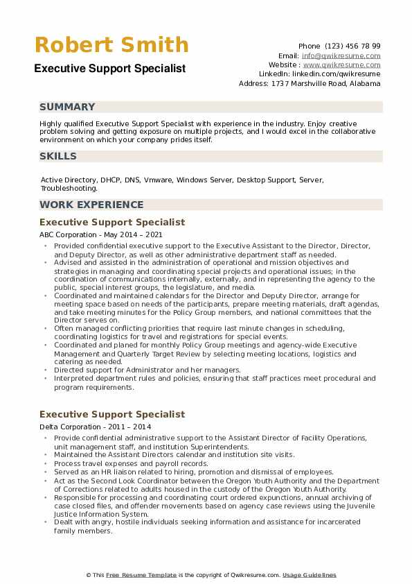 Executive Support Specialist Resume example