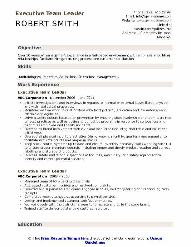 Executive Team Leader Resume Sample