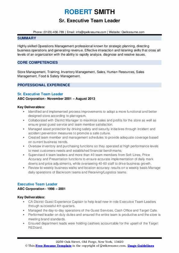Sr. Executive Team Leader Resume Format
