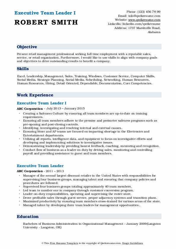 Executive Team Leader I Resume Sample