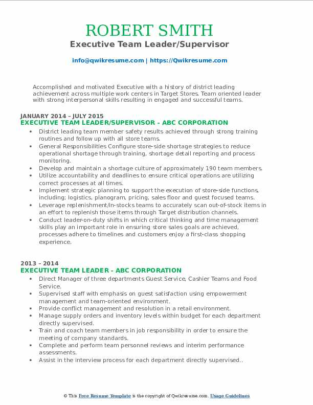Executive Team Leader/Supervisor Resume Format