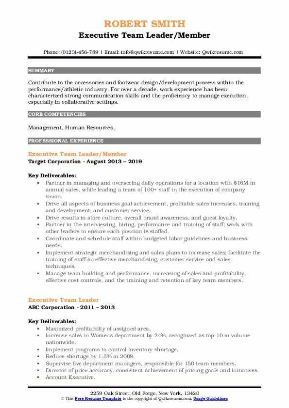 Executive Team Leader/Member Resume Model