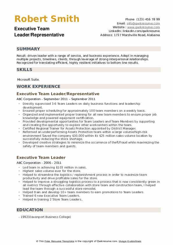 Executive Team Leader/Representative Resume Example