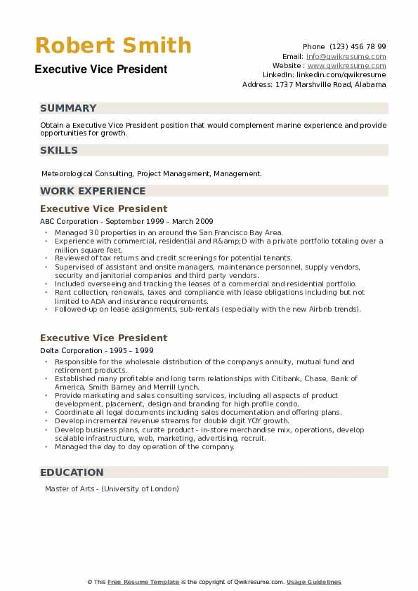 Executive Vice President Resume example
