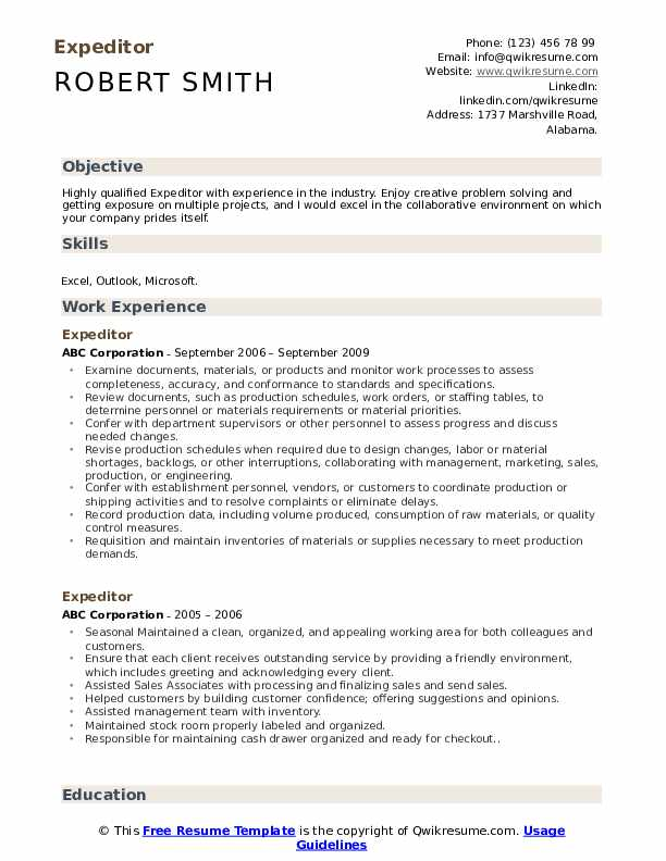 Expeditor Resume Example