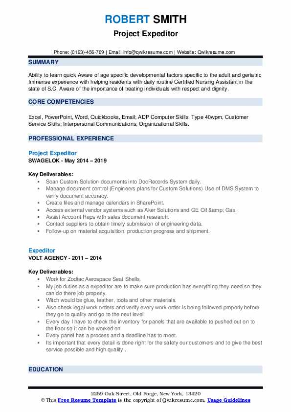 Project Expeditor Resume Model