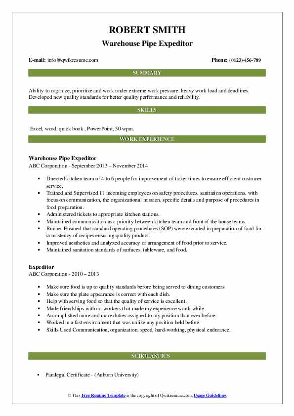 Warehouse Pipe Expeditor Resume Format