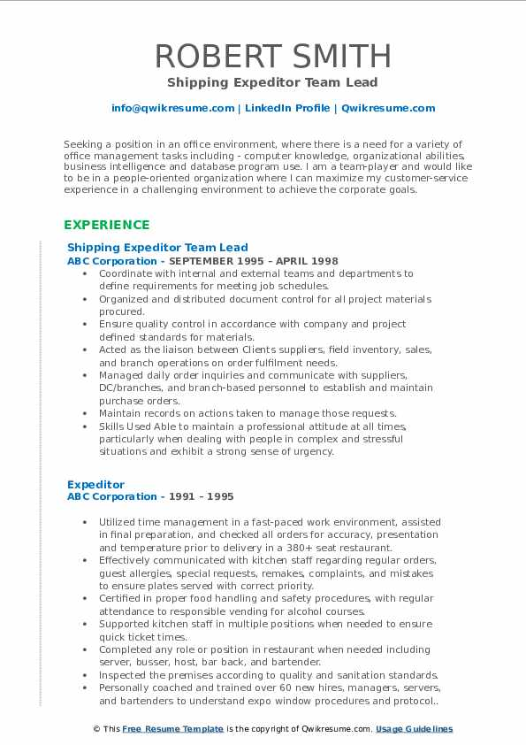 Shipping Expeditor Team Lead Resume Example