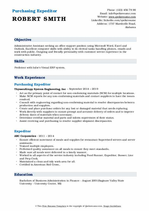 Purchasing Expeditor Resume Model