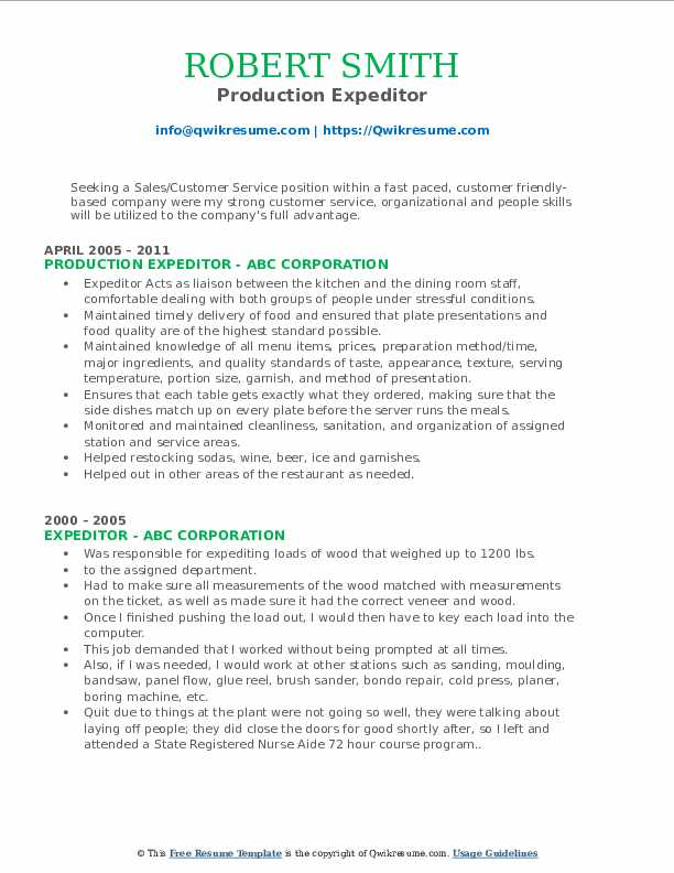 Production Expeditor Resume Format