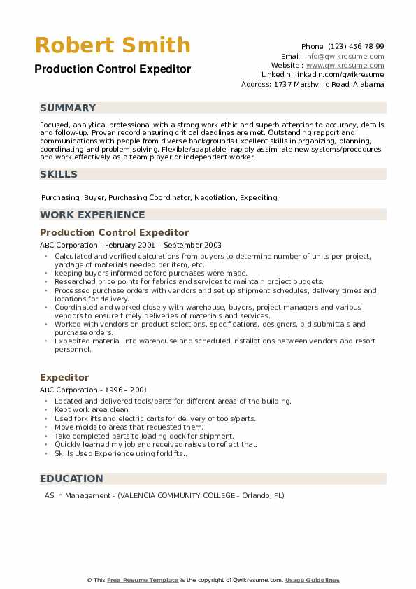 Production Control Expeditor Resume Model