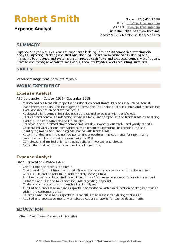 Expense Analyst Resume example
