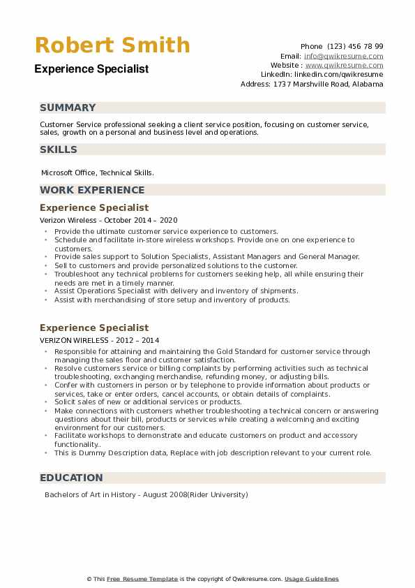 Experience Specialist Resume example