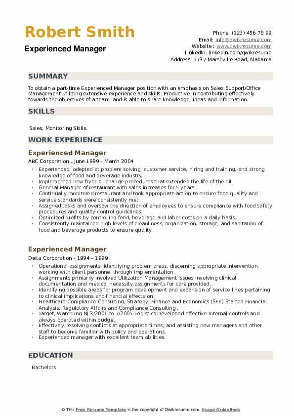 Experienced Manager Resume example