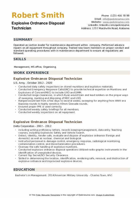 Explosive Ordnance Disposal Technician Resume example