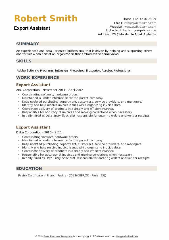 Export Assistant Resume example