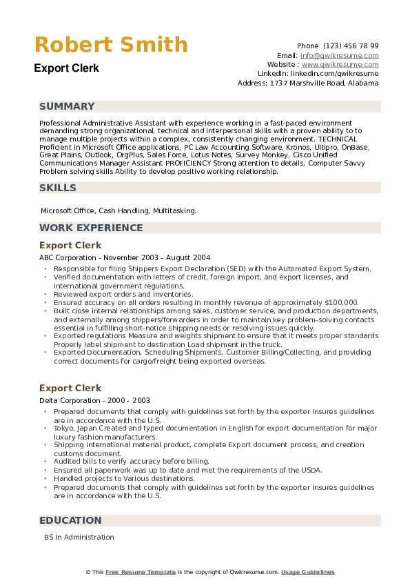 Export Clerk Resume example