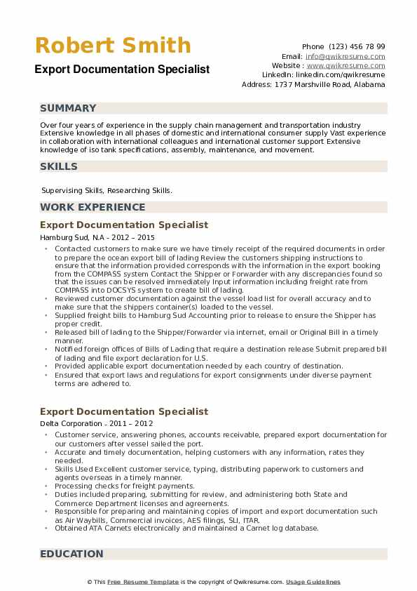 Export Documentation Specialist Resume example