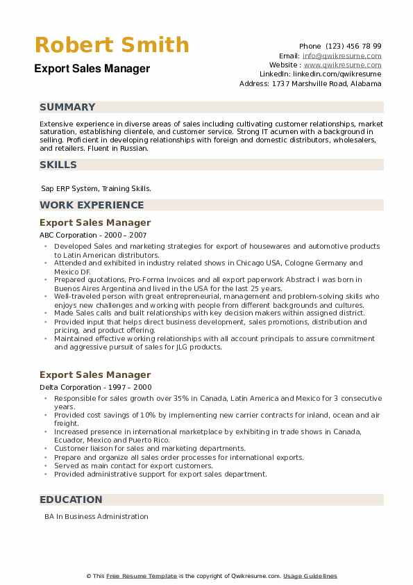 Export Sales Manager Resume example