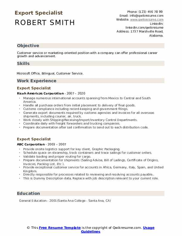 Export Specialist Resume example