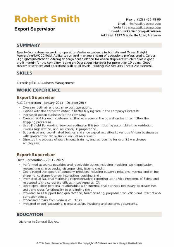 Export Supervisor Resume example