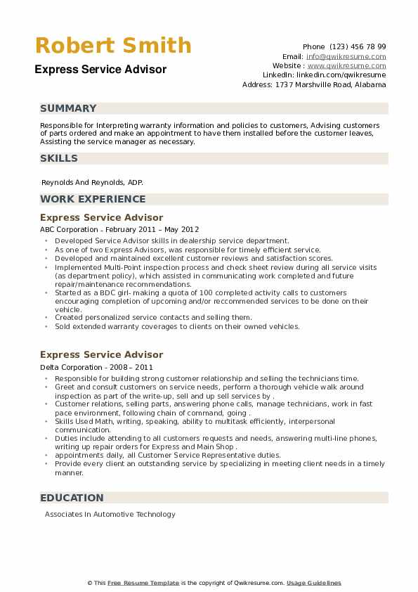 Express Service Advisor Resume example